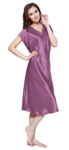 LILYSILK Chemise de Nuit Soie Femme Uni Col V Mi-mollet 22 Momme Violet