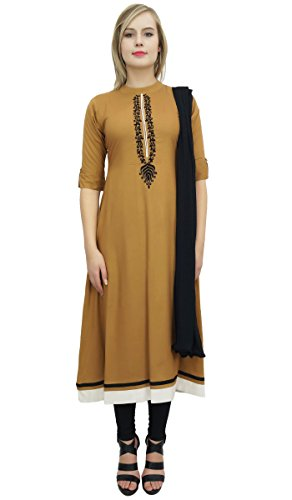 Atasi A-Linie Kurti Salwar Kameez Braun Straight Suit Set mit Dupatta Dress-44 Dupatta Set