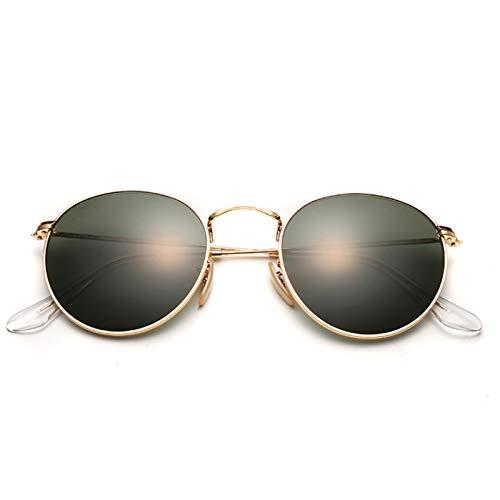 Daawqee Glass Lenses Round Sunglasses Women Man Designer Small Vintage Retro Sunglass Driving Sun Glasses Metal Eyewear UV400 leather case 1