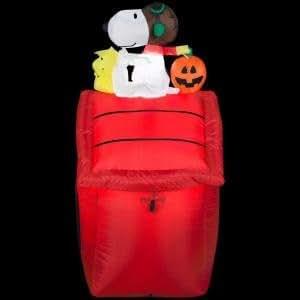 Funkelndes Airblown 3,5ft. Peanuts Rot Baron erleuchtet Snoopy mit Kürbis