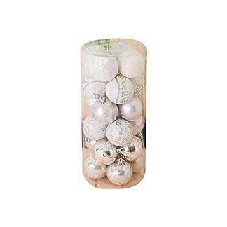 Ogquaton 24Pcs Adornos de Bolas de Navidad Bolas de árbol de Navidad irrompibles Decoraciones para Vacaciones Decoración de Fiesta de Bodas Plata Durable y útil