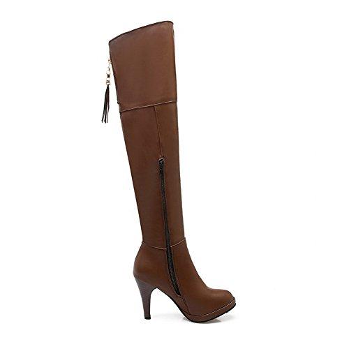 VogueZone009 Donna Cerniera Tacco Alto Luccichio Puro Alta Altezza Stivali Giallo