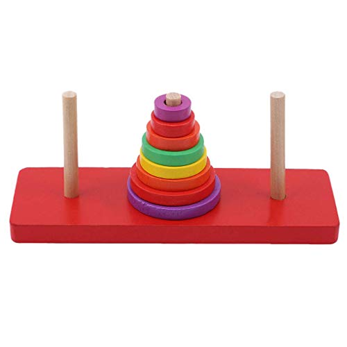 Missoul Tower of Hanoi Wooden Puzzle Creative 8 Rings Stacking Kid Mathematical Educational Logic Brain Teaser Puzzle Toys Early Education Parent-Child Interaction Toy -