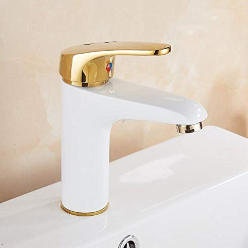 Burgund-gold-finish (Kai&Guo Mode Messing Gold und weiß Finish Bad heiß und kalt Becken Wasserhahn waschbecken Wasserhahn mit kreuzgriff, Burgund)