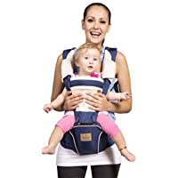 Bebamour Baby Carrier Hip Seat 5 Carry Ways with Detachable Seat Breathable Baby Carrier for Newborn (Dark Blue)