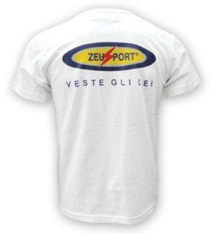 Zeus Herren T-Shirt Training Fußball Fitness Sport T-SHIRT PROMO WEISS BLAU (XL, WEISS)