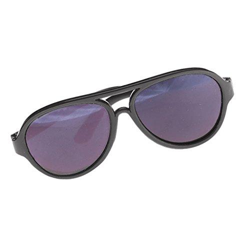F Fityle Puppenzubehör - Mini Puppen Brille Sonnenbrille - 1 Paar - Schwarz