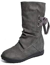 Botines Mujer Invierno Otoño Motorista Hebilla Botas Planos Tobillo Cuña Calzado Casual Zapatos con Tacon Aumento 3cm Negro Marrón Gris Talla 34-43