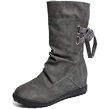 Botines Mujer Invierno Otoño Motorista Hebilla Botas Planos Tobillo Cuña Calzado Casual Zapatos con Tacon Aumento