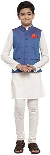 NEUDIS by Dhrohar Dupion Silk Nehru Jacket & Cotton Long Kurta With Churi Pajama Set For Boys - Blue &am