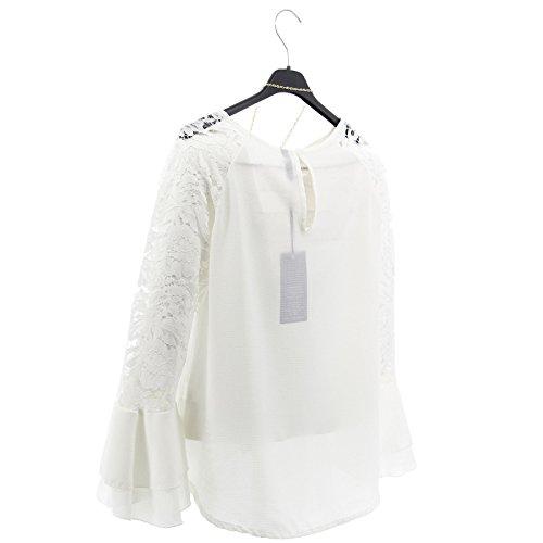 ... Shirt Frauen Lange Hülsen-Spitze Gestickte Blumenbluse Reizvolle Neue  Art und Weise Weiß