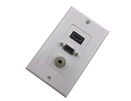 CERRXIAN HDMI VGA 3,5-mm-Audio-Stereo-Pass-Through-Composite-Composite-Wand-Frontplatte (weiß) -