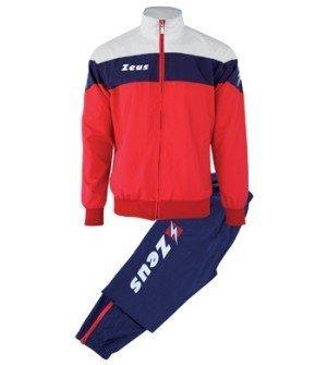 Zeus Herren Sportanzug Trainingsanzüge Running Laufen Training Sport Set Trikot Shirt Shorts Hosen TUTA LYBRA BLAU ROT WEISS (L) -