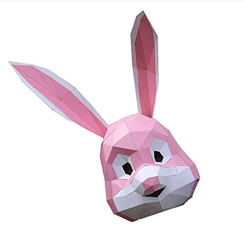 Kaninchen Maske. Schablone der Schablone der Papiermaske-Tier 3D DIY. Perfekte Halloween, Party Kostüm, Bühne Requisite oder Kostüm Event (Hase)