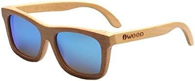 Iwood Handcrafted Moda de bambú Natural Marcos Azul lente polarizada Gafas de sol de madera