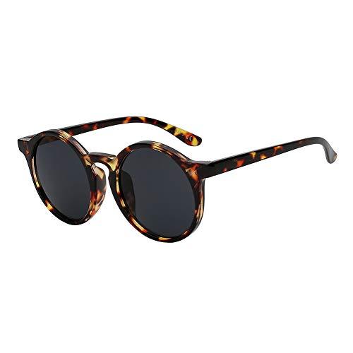 Shihuam Klassische runde Vintage Sunglasse-Frauen-weibliche Glas-Retro Mode-Sonnenbrille,Bernstein w schwarz