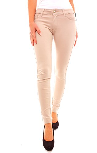 Moda donna lunghi Miss Anna quedane Low Rise tubo fianchi Skinny Jeans taglio Beige