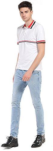 Sportides Mens Leisure Pocket Polo Shirt Short Sleeve T-Shirt Tops JZA026 JZA069_White