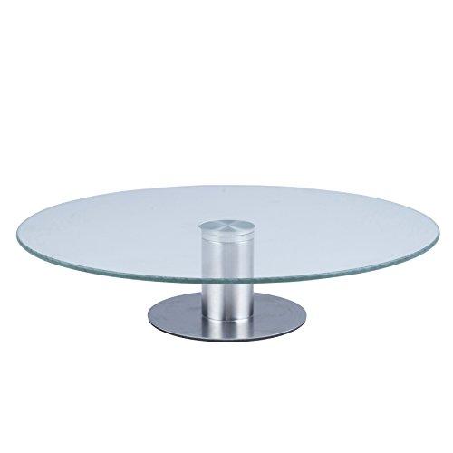 Kuchenplatte Tortenplatte Glas Edelstahl drehbar 360 Grad 30cm Durchmesser