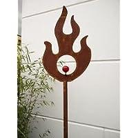 Garteninspiration Gartenstecker Feuermotiv 160cm hoch