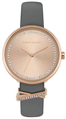 Karen Millen Unisex-Adult Analogue Classic Quartz Watch with Leather Strap KM174E
