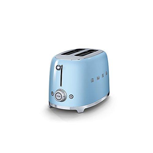 Smeg TSF01PBUK KLF03PBUK   50's Retro Style Aesthetic   2 Slice Toaster and Kettle Set in Pastel Blue