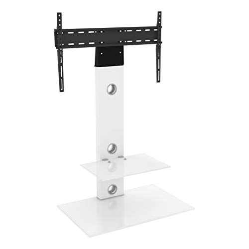King aufrecht und Freitragende TV-Stand mit Halterung weiß satiniert quadratisch Regalen 70cm von 81,3cm-152,4cm Zoll für HD Plasma LCD LED OLED gebogen TVS von TV Möbel Direct (Tv-möbel Lcd)