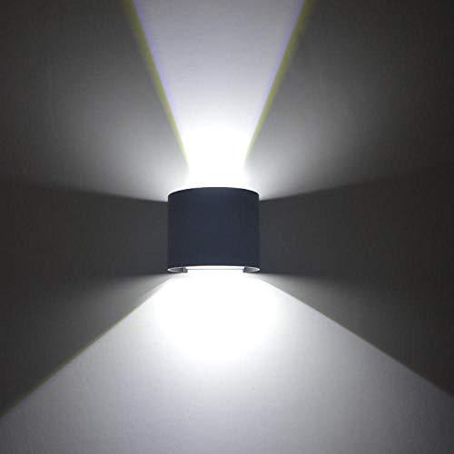 Led Wandleuchte Innen Modern Wandlampe Innenbeleuchtung Auf Und Ab Wirkung Aluminium Wasserdichte Outdoor-Runde Schlafzimmer Korridor Ausstellungshalle Hotelzimmer Cafe 7W Schwarz Cool White -