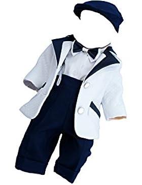 Taufanzug Jarek weiß-blau - mit ökologischem Leder - Handarbeit