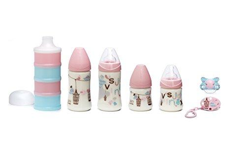 Suavinex Bienvenido Bebé 4 botellas Pack + Clip + Chupete surtidos + dispensador de leche Rose