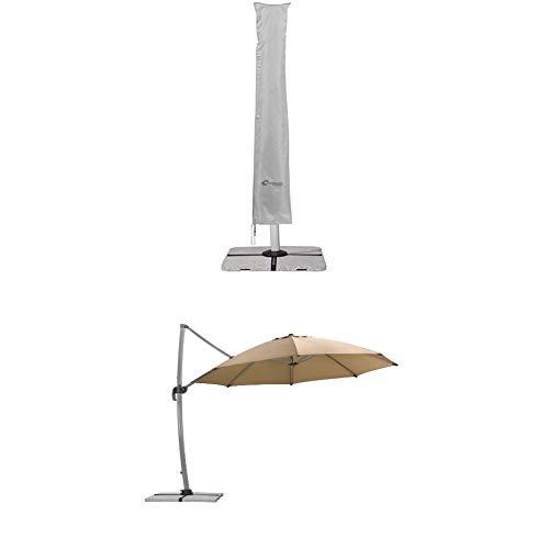 Schneider Schutzhülle für Ampelschirme, silbergrau, bis 400 cm Ø & 300x300 cm + Sonnenschirm Rhodos Rondo, sand, 350 cm rund, Gestell Aluminium, Bespannung Polyester, 22.4 kg