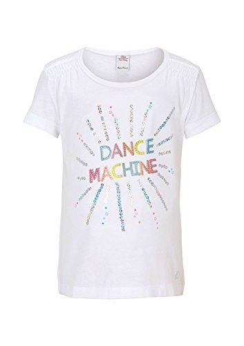 s.Oliver Mädchen T-Shirt 53.504.32.2316, mit Print, Gr. 128 (Herstellergröße: 128/134), Weiß (white 0100)