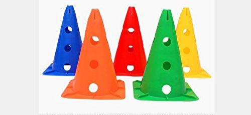 10 Stück Multifunktionskegel Fußballtraining Fußball Spielen Markierteller Marker Kegel für Fußball trainieren, Kombi-Kegel ,50cm(Farbe wird zufällig gesendet) Test