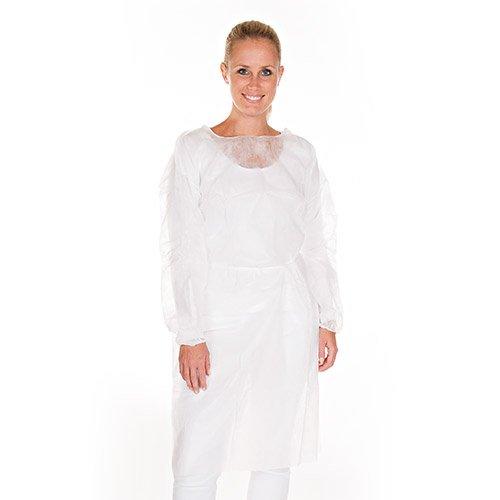 Top-Schutzkittel, PP-Vlies-Patientenkittel, Einweg-Kittel, Einweg-Besucherkittel, Farbe:weiß, Größe:L -