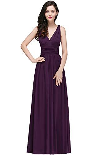 Damen Elegant Chffion Kleid Brautmutter Kleid Maxi Festkleid lang lila 42
