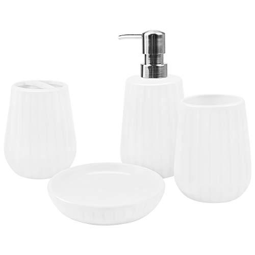 Rich Life 4-teiliges Keramik-Badezimmerzubehör-Set, komplett geriffelt, weiß, Badezimmer-Dekoration, inkl. Seifenspender, Pumpe, Zahnbürstenhalter, Becher, Seifenschale, Geschenkidee für Zuhause - Rich Pumpe