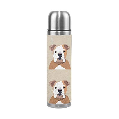 English Bulldog Dog with Cut Lines - Dog Panel, Dog, Cut and Sew - 17 Oz(500ML) Double Layer Leak-Proof Stainless Steel Vacuum Insulated Water Bottle -