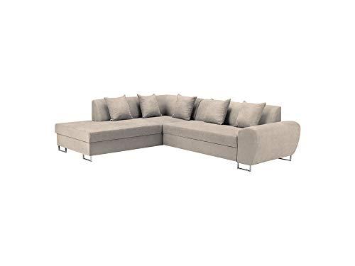 Kooko home - divano angolare sinistro convertibile con cassettone, pianoforte, 5 posti, colore: panna, 271 x 90 x 73,5