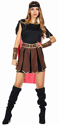 Josamogre Damen Römische Kriegerin Kostüm Kleid mit Umhang Arm Stulpen und Haarband Halloween Cosplay Brown 2XL (Römische Kriegerin Damen Kostüm)