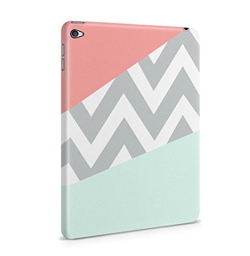 Mint And Coral Pink Chevron Blocks Dünne Rückschale aus Hartplastik für iPad Mini 4 Tablet Hülle Schutzhülle Slim Fit Case cover (Tinte Mint)