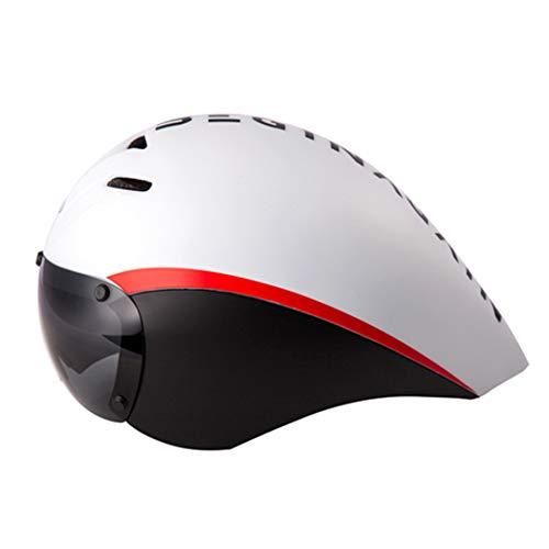 VGSDVWUJNI Fahrradhelm Goggles Triathlon Tri Aero Helm Rennrad Timetrial In-Mould Wide Body Fahrradhelm Black red