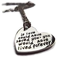 """Halo accesorios Reino Unido """"si el amor te podría haber salvado"""" aflicción corazón colgante collar"""