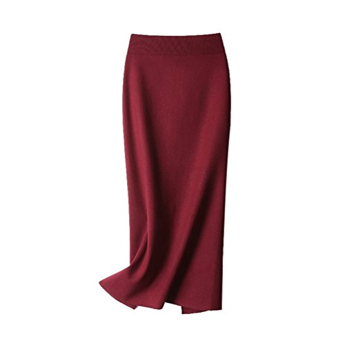 ZhiYuanAN Damen Winter Rock Warm Strickrock Stretch Verdicken Einfarbig Slim Fit Bodycon Schlitz Röcke Wein Rot M