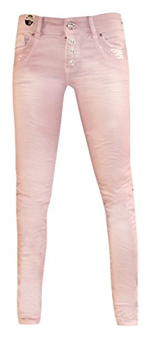 Coccara Damen Jeans Hose Curly Button Rose