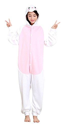 ABYED® Jumpsuit Tier Karton Fasching Halloween Kostüm Sleepsuit Cosplay Fleece-Overall Pyjama Schlafanzug Erwachsene Unisex Lounge,Erwachsene Größe S - für Höhe 150-158cm (Halloween Kostüme Hasen)