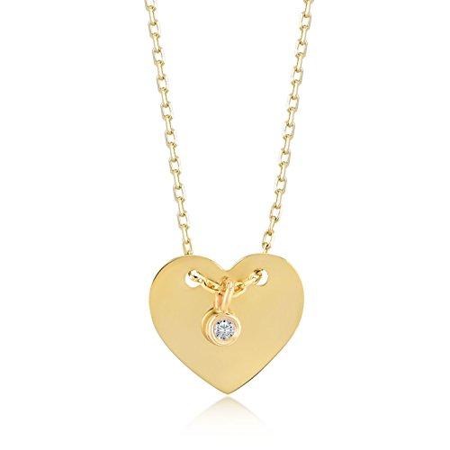 Damen Gold Kette Mit Anhänger 14 Karat / 585 Gelbgold Herz mit einem schönen 0.01 Ct. Diamant als Anhänger / 14k Gold with Diamond Heart Necklace Kettegröße 45cm