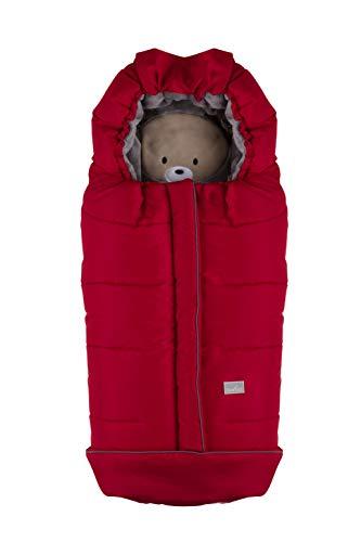 Nuvita 9605 junior cuccioli - sacco termico universale per passeggino. ideale per neonati, bimbi e bambini (red bear - grey)