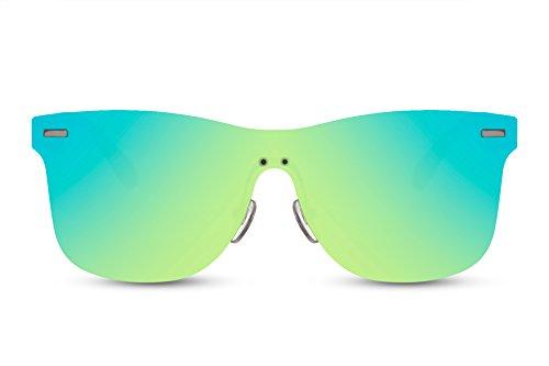 Cheapass Sonnenbrille Schwarz Grün Verspiegelt-e Linsen Sport-lich Flach UV-400 Damen Herren
