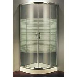 Cabine de douche en cristal trempé sérigraphié 6 mm demi-rond ouverture coulissante - 90 x 90 cm, h 190 cm