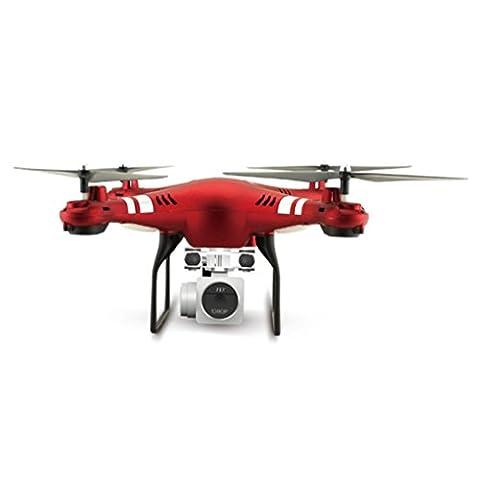 Hélicoptère Jouet Enfant, Manadlian 2,4 G Altitude Hold Hd CaméRa Quadcopter Rc Drone Wifi Fpv HéLicoptèRe Live Hover (Taille libre, Rouge)